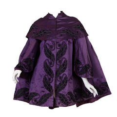 1860s Victorian Silk Satin coat with Quilted Lining