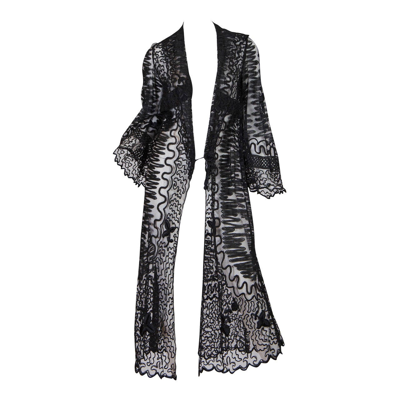 Edwardian Embroidered Soutash Net Duster 1