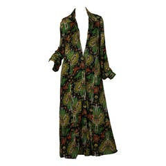 1970s Italian Silk Jersey Paisley Coat from Fiandaca Couture