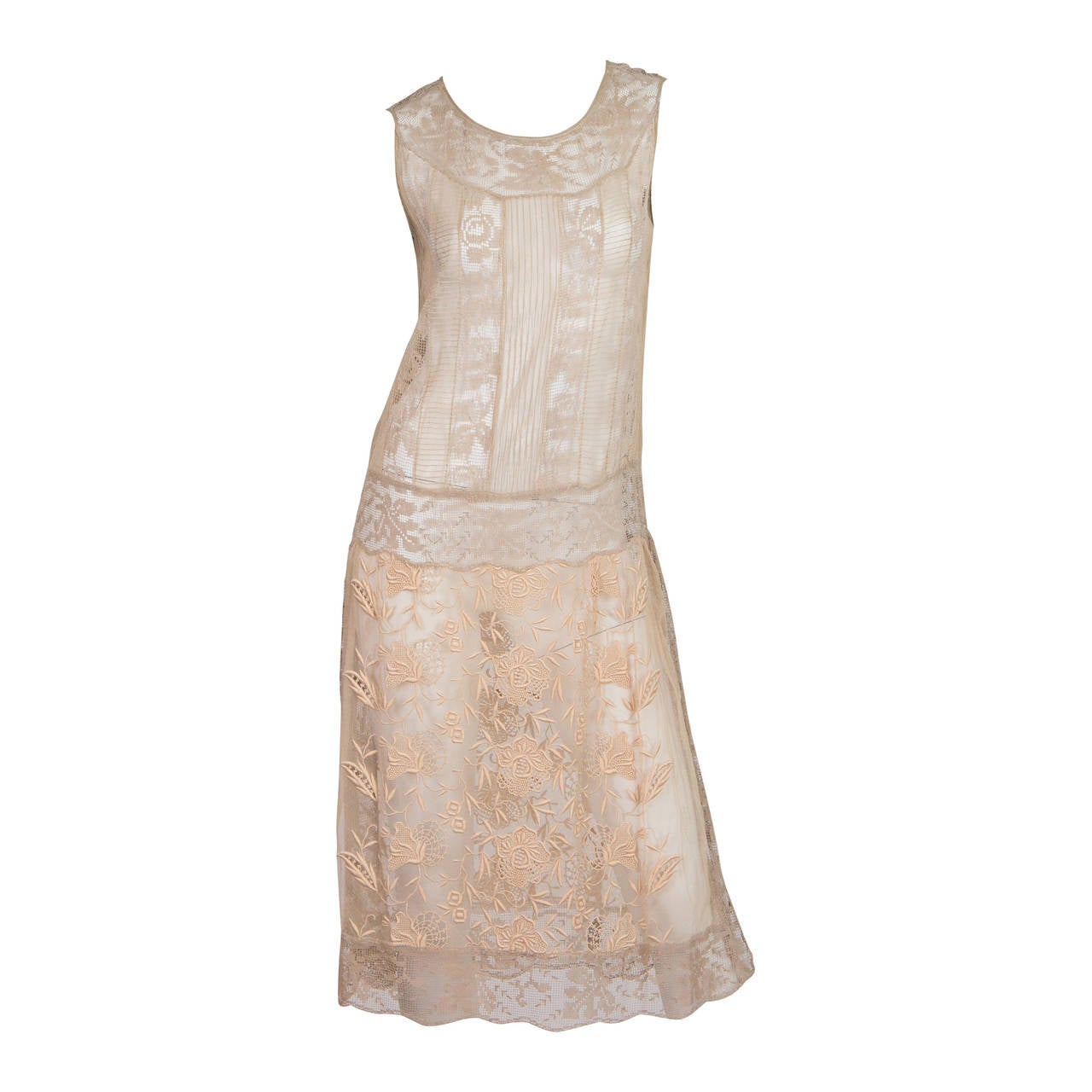 20s Handmade Lace and Embroidered Tea Dress 1