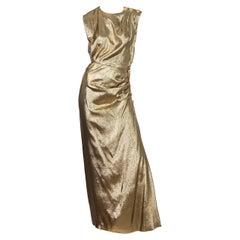 Yves Saint Laurent YSL Gold Lamé Gown with Slit