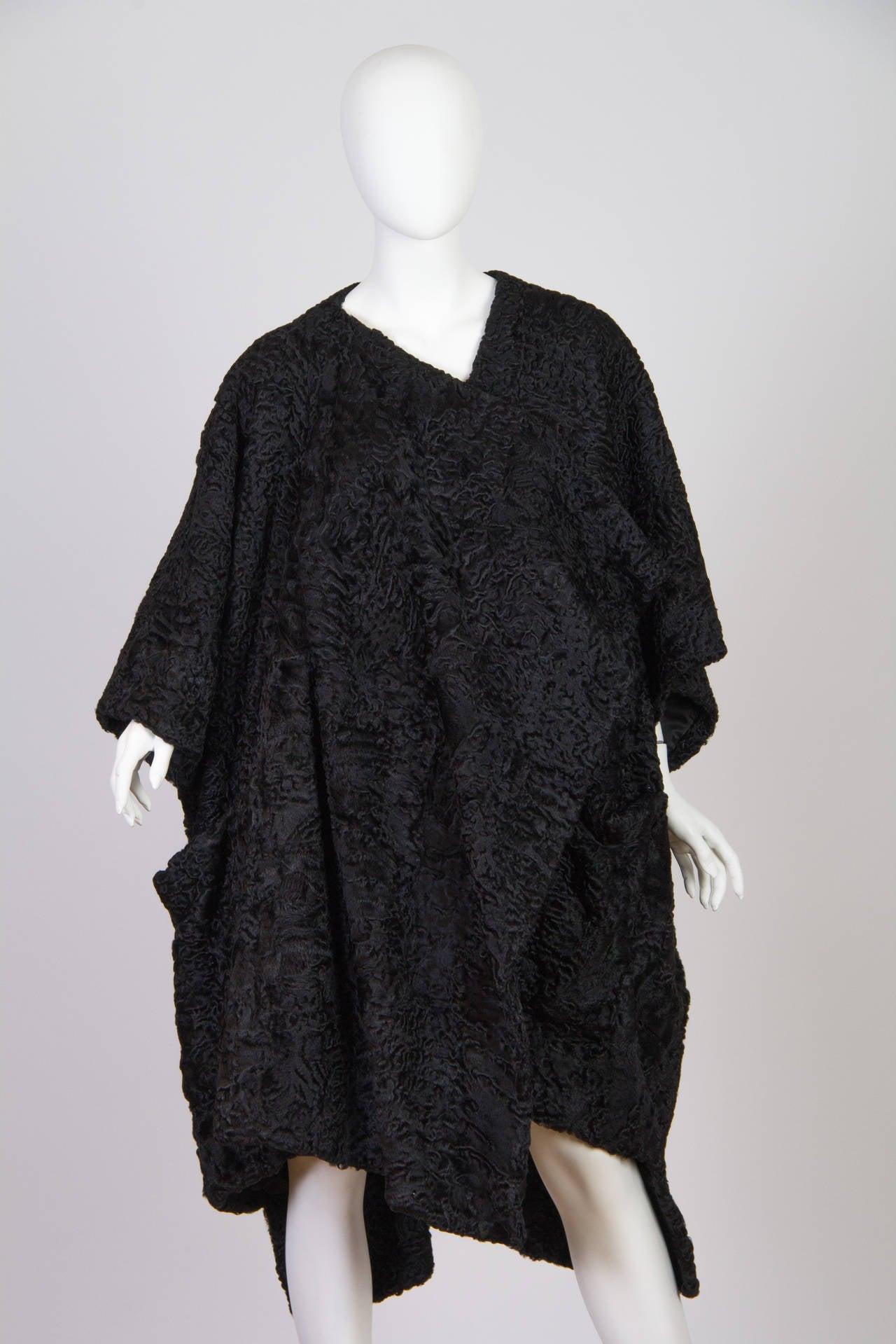 Patrick Kelly Asymetrical Minimalist Black Astrakhan Fur Coat 3