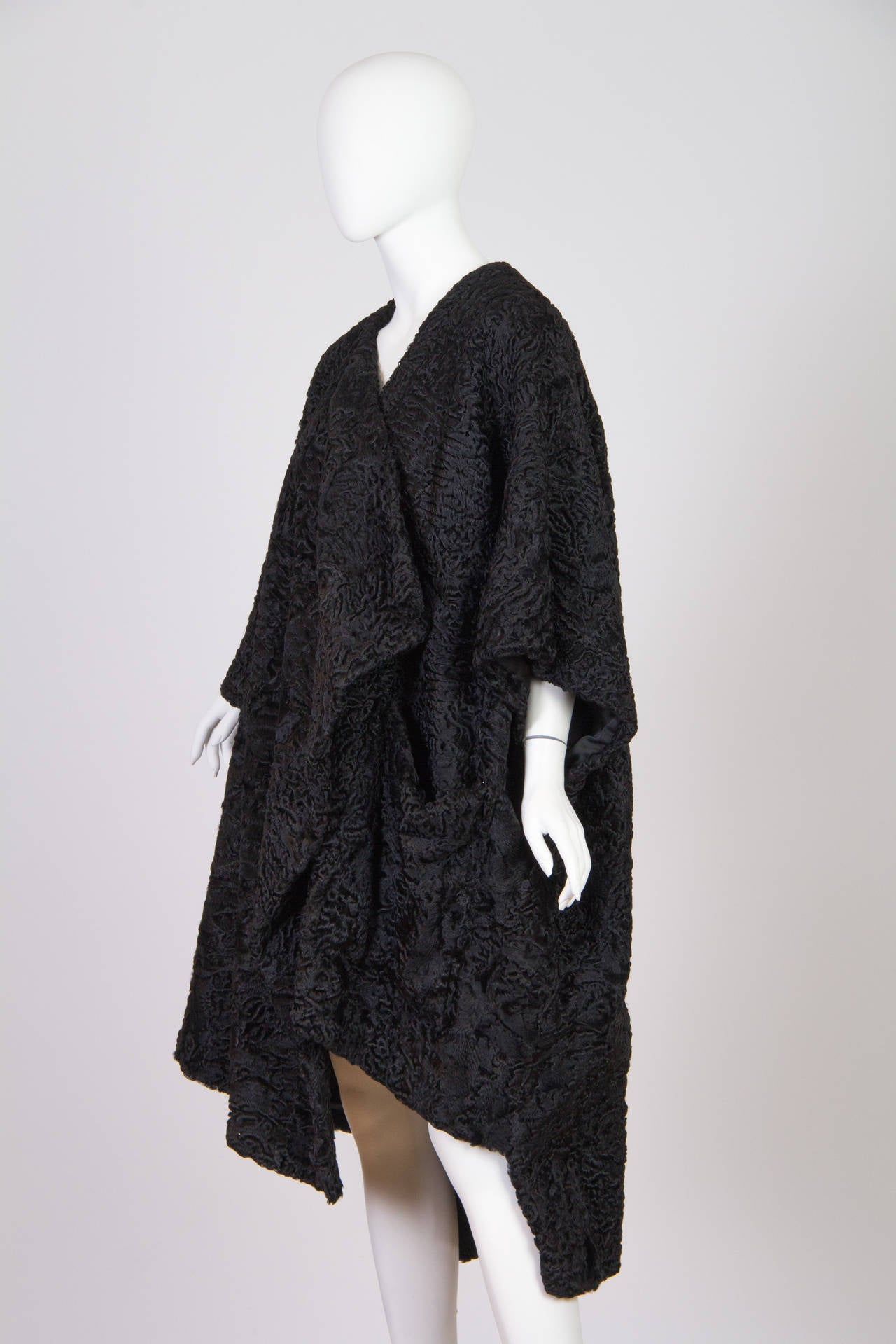 Patrick Kelly Asymetrical Minimalist Black Astrakhan Fur Coat 2