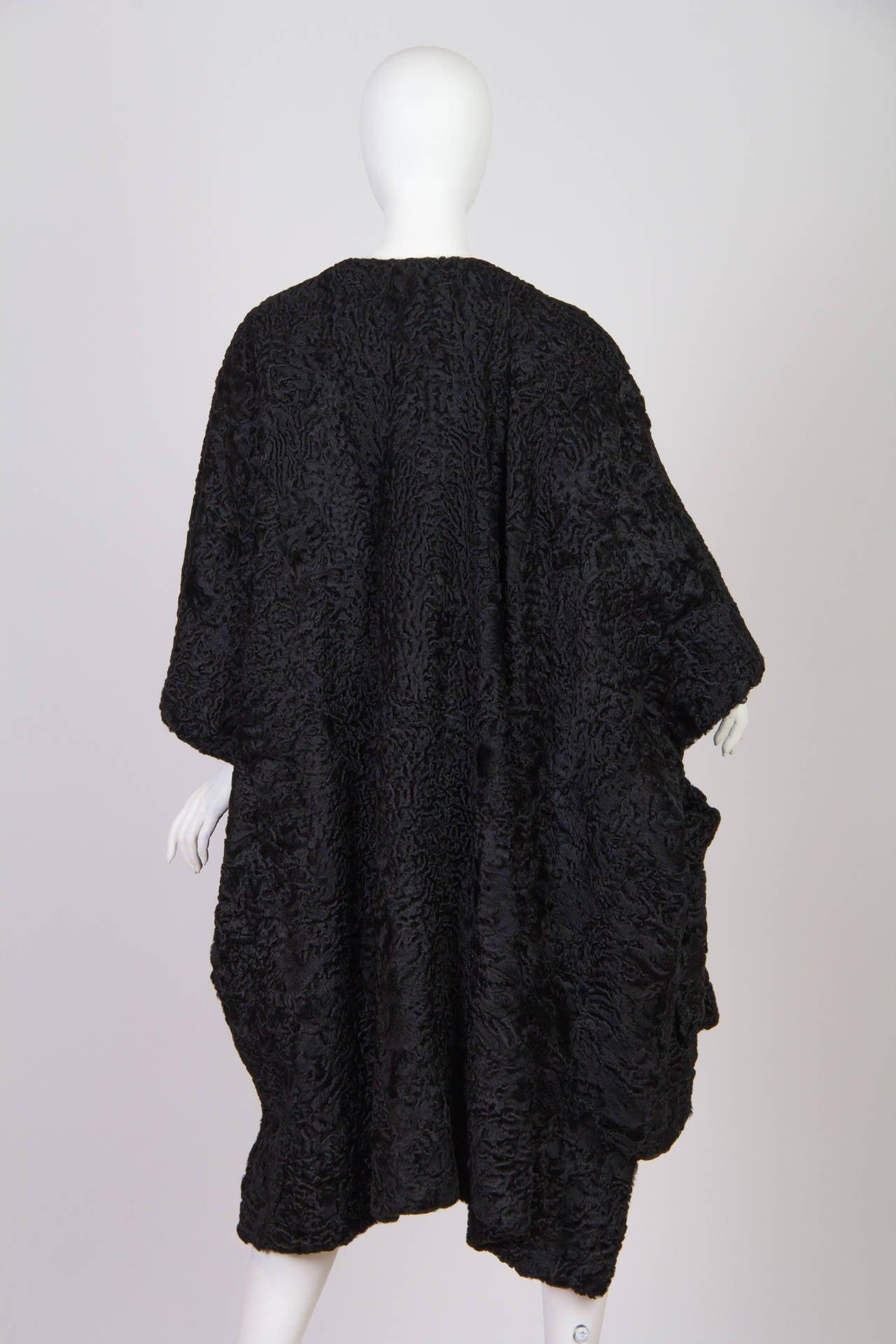 Patrick Kelly Asymetrical Minimalist Black Astrakhan Fur Coat 5