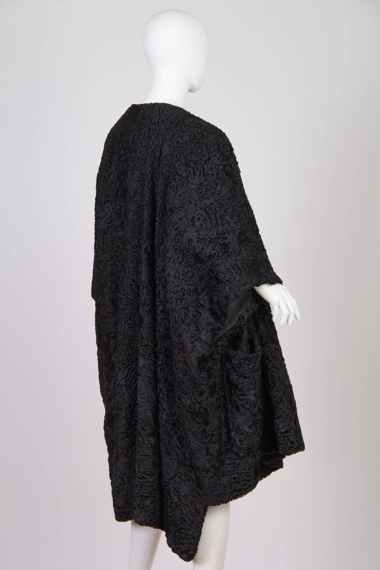 Patrick Kelly Asymetrical Minimalist Black Astrakhan Fur Coat 4