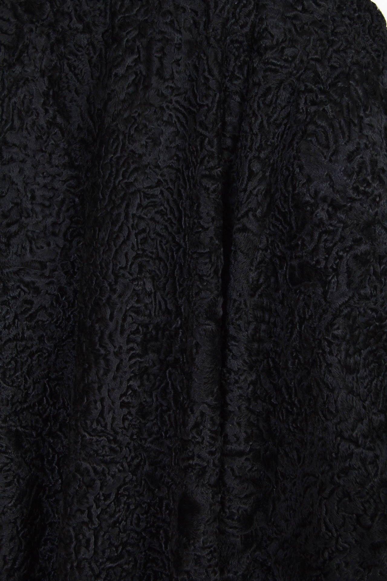 Patrick Kelly Asymetrical Minimalist Black Astrakhan Fur Coat 9