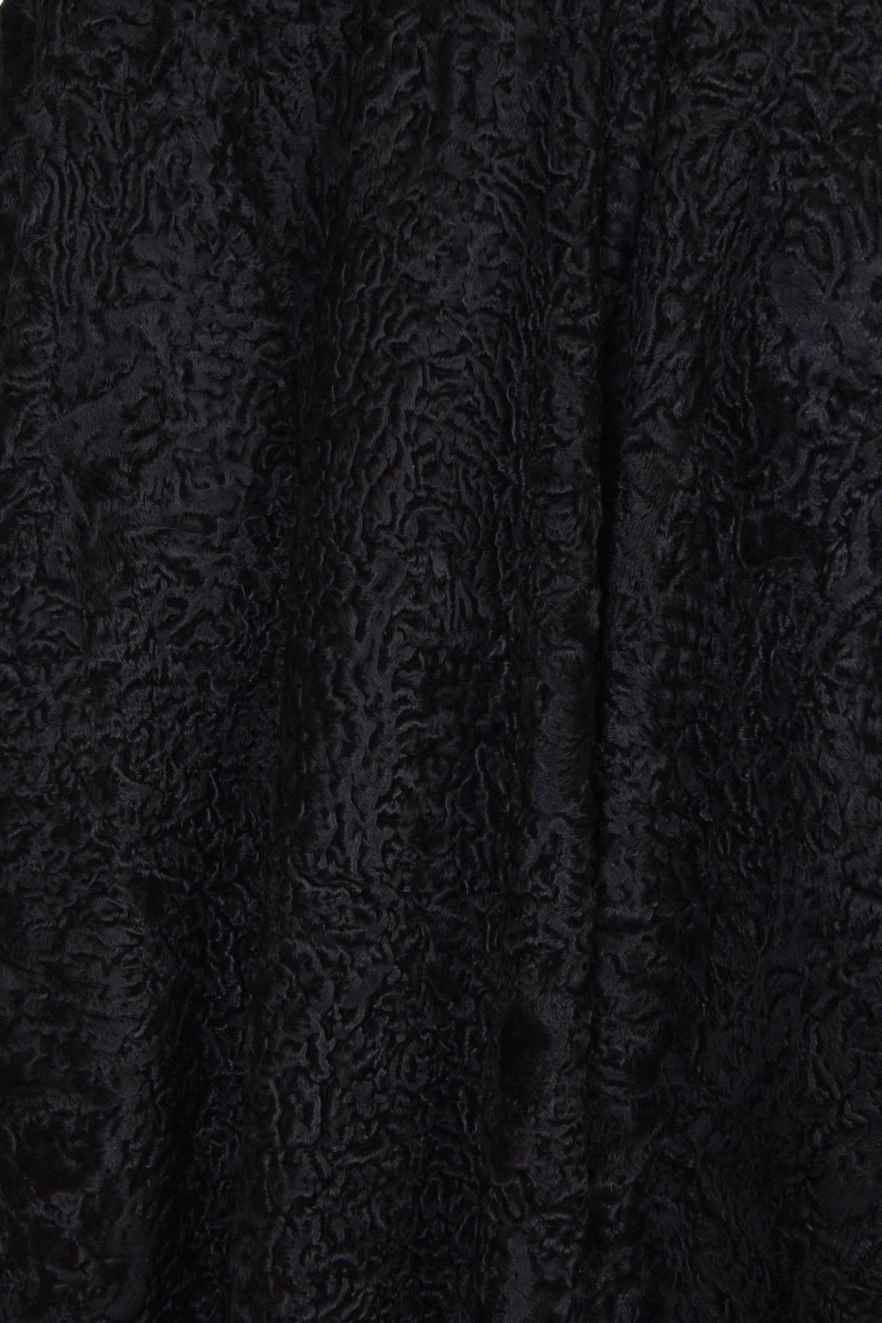 Patrick Kelly Asymetrical Minimalist Black Astrakhan Fur Coat 8