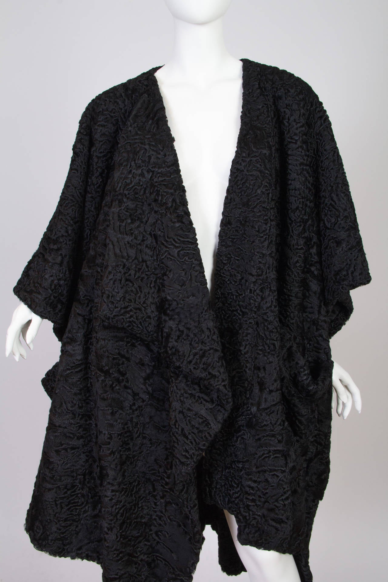 Patrick Kelly Asymetrical Minimalist Black Astrakhan Fur Coat 6