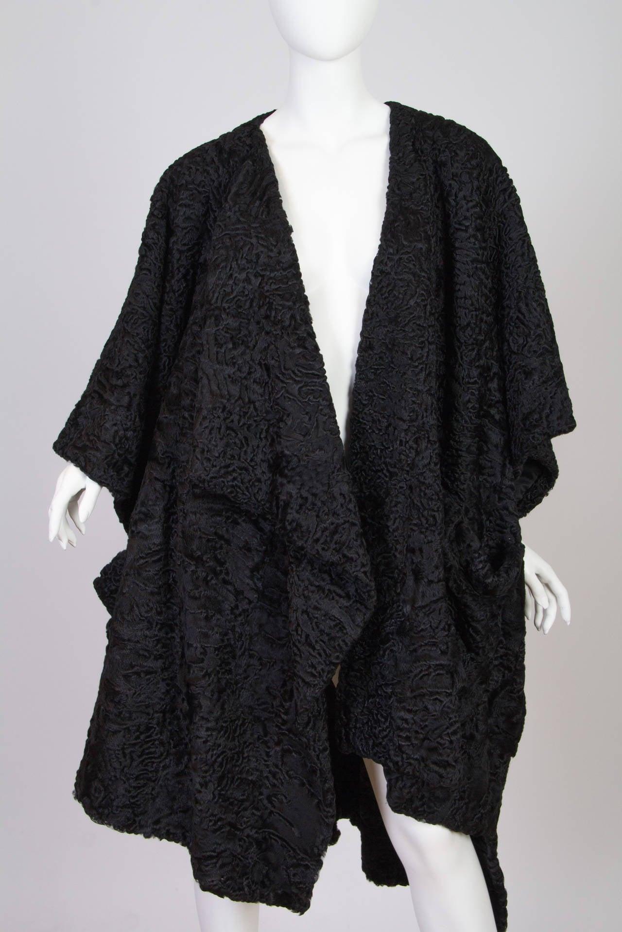 Patrick Kelly Asymetrical Minimalist Black Astrakhan Fur Coat 7