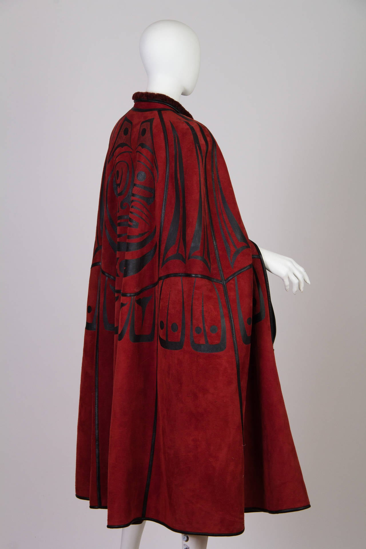 Red Inuit Native American Inspired Shearling Cape For Sale