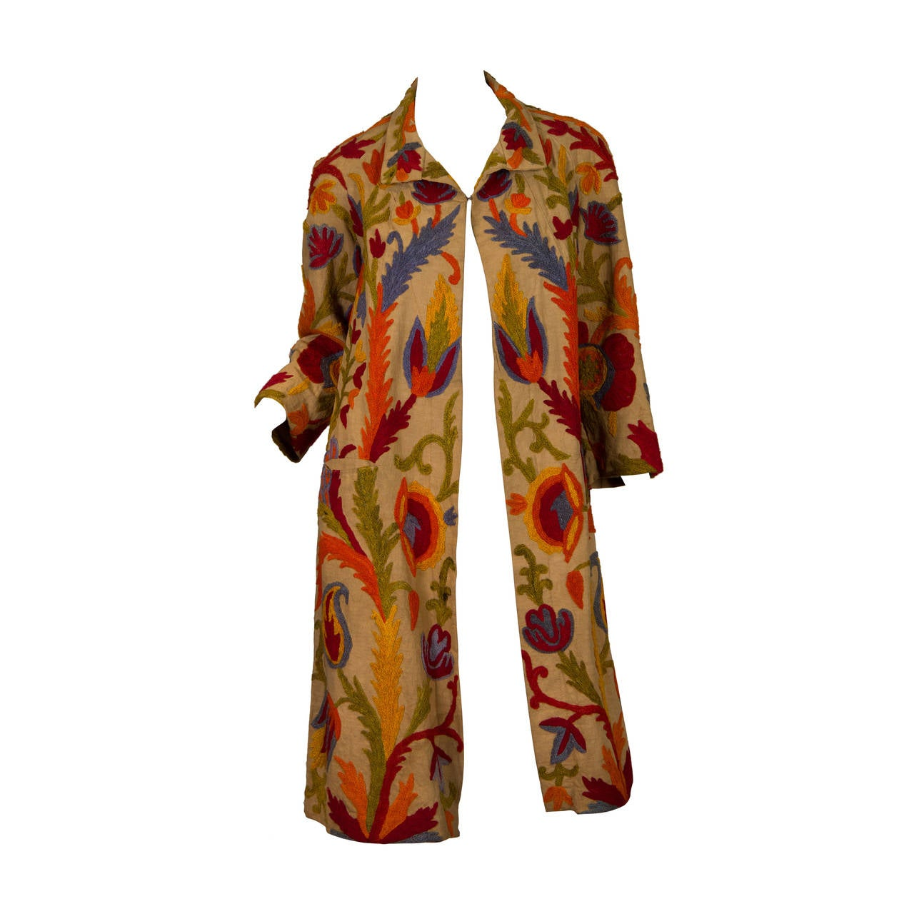 1920s Wool on Cotton Indian Crewl Embroidered Coat 1