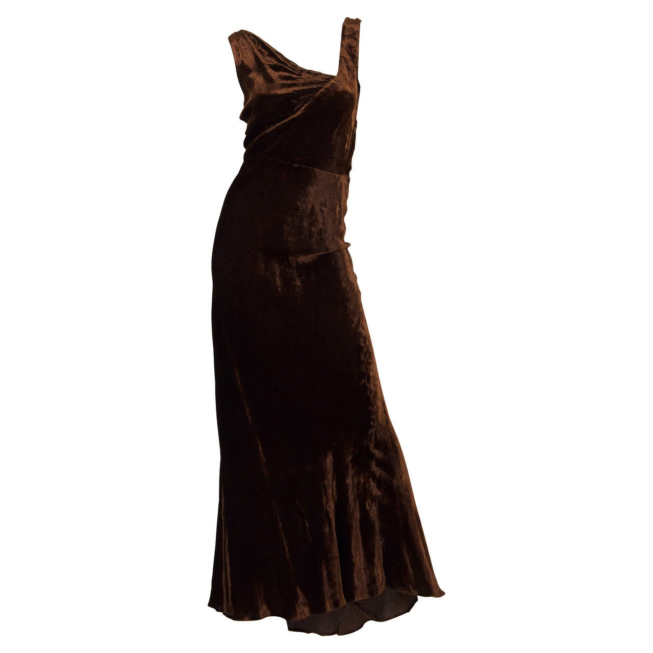1930s Bias Cut Silk Velvet Gown For Sale at 1stdibs