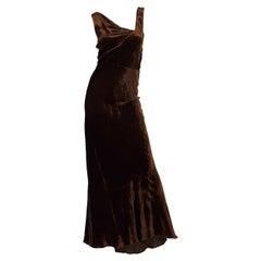 1930s Bias Cut Silk Velvet Gown
