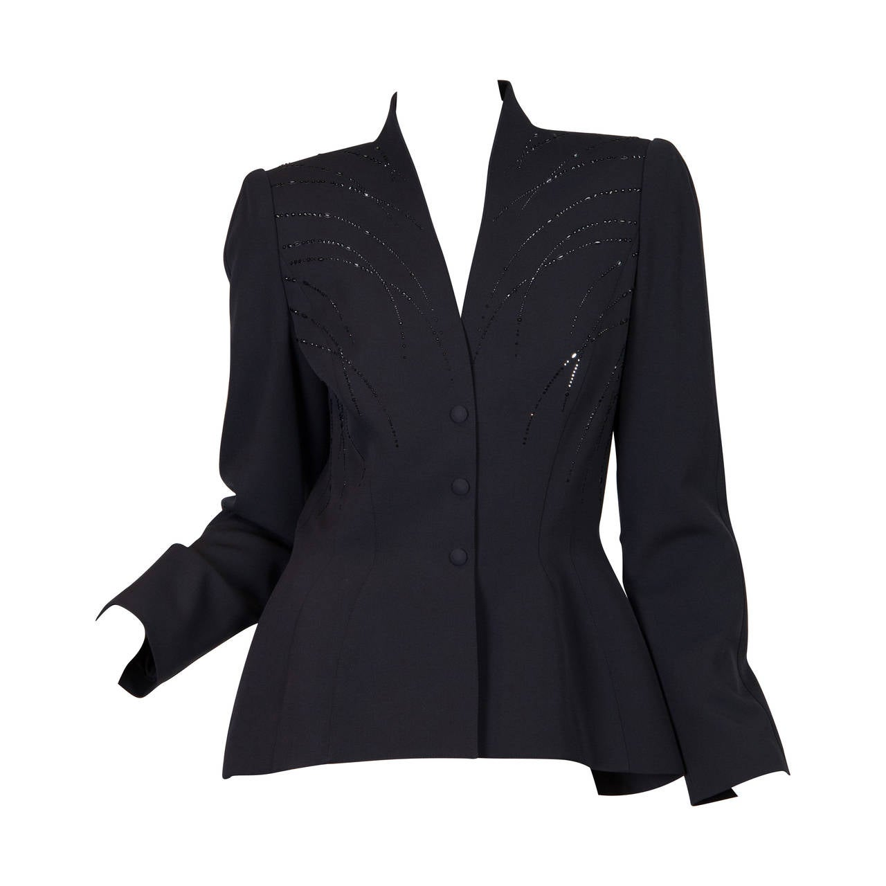1980s Thierry Mugler Jacket with Crystals For Sale