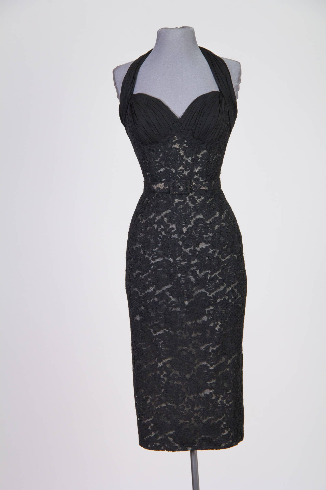 Women's Pierre Balmain Haute Couture 1950s Lace Dress and Jacket with Mink Collar For Sale