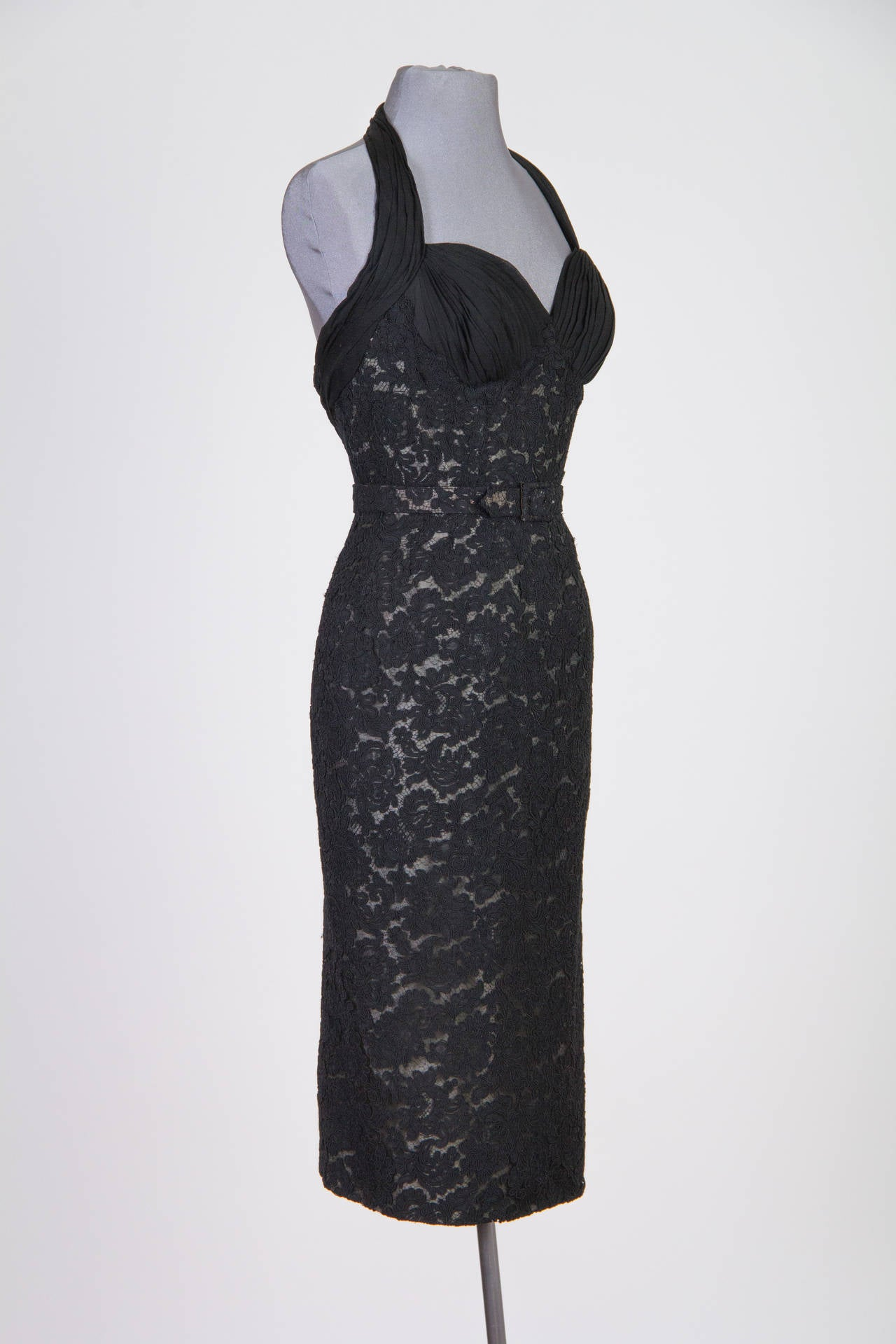 Black Pierre Balmain Haute Couture 1950s Lace Dress and Jacket with Mink Collar For Sale