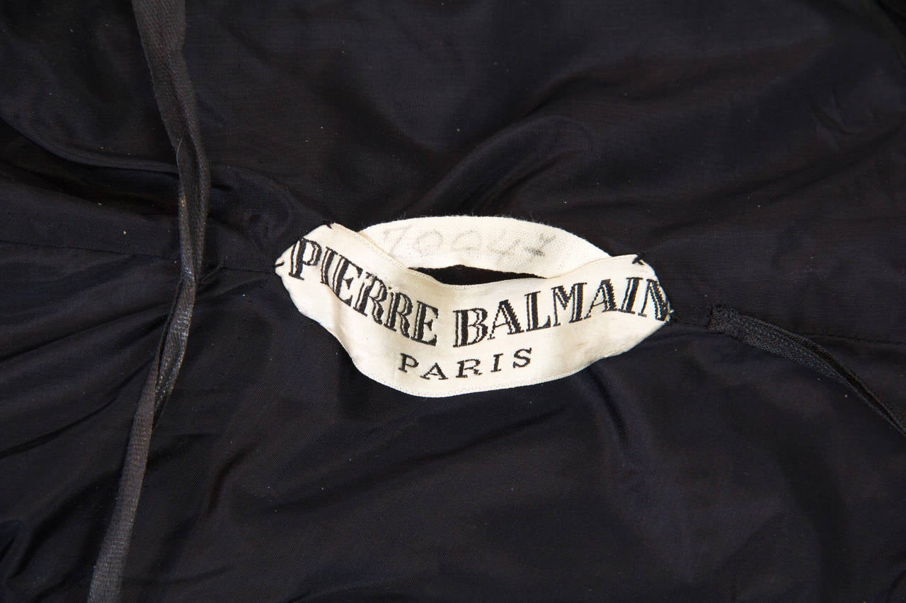 Pierre Balmain Haute Couture 1950s Lace Dress and Jacket with Mink Collar For Sale 5