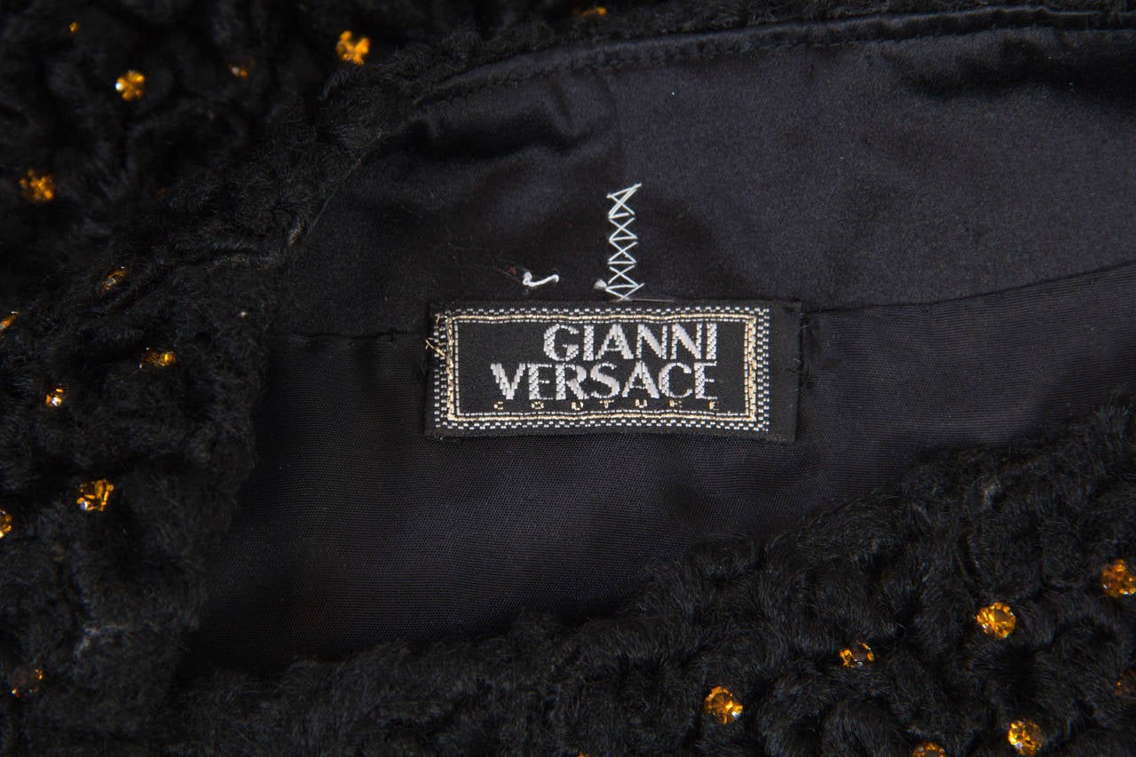 1990s Gianni Versace Couture Documented Swarovski Mini Skirt For Sale 3