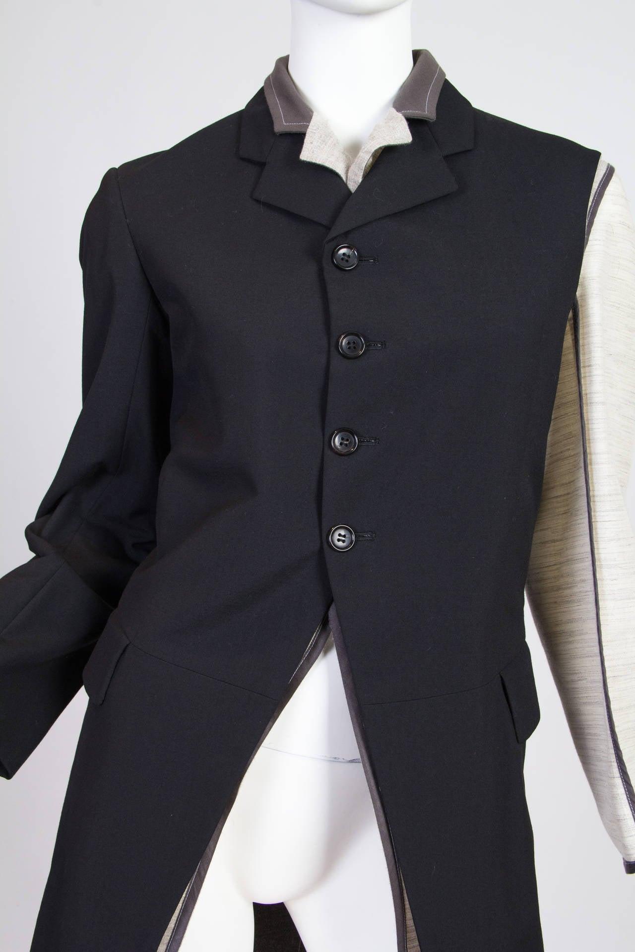 Black 1998 Comme des Garcons Desconstructed two piece Coat For Sale