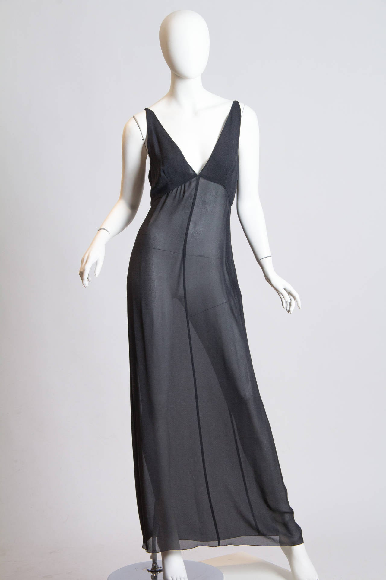 Slate Grey Crepe Dress from Chanel In Good Condition For Sale In New York, NY