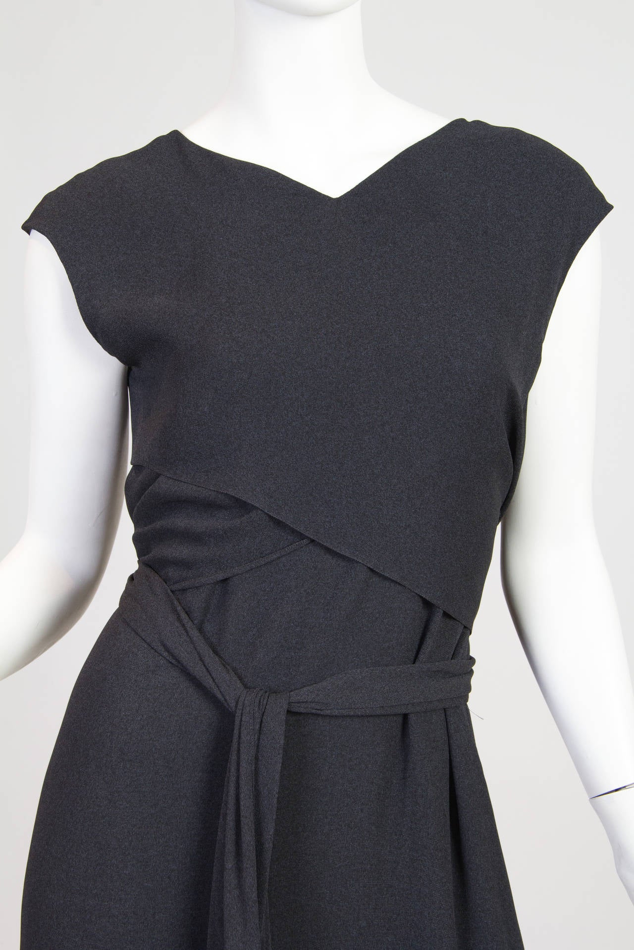 Slate Grey Crepe Dress from Chanel For Sale 1