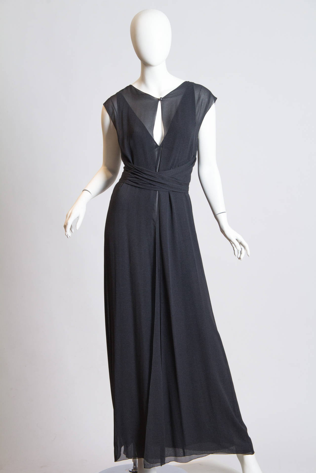 Black Slate Grey Crepe Dress from Chanel For Sale