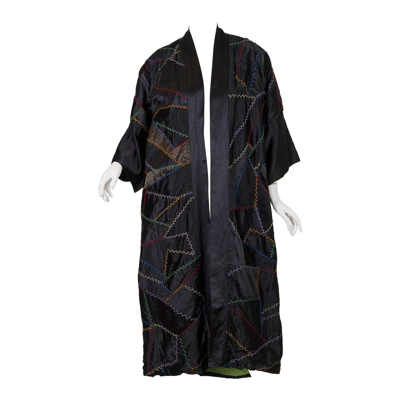 Silk Crazy Quilt Patchwork Coat, 1920s
