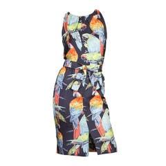 1960s Donald Brooks Parrot Dress