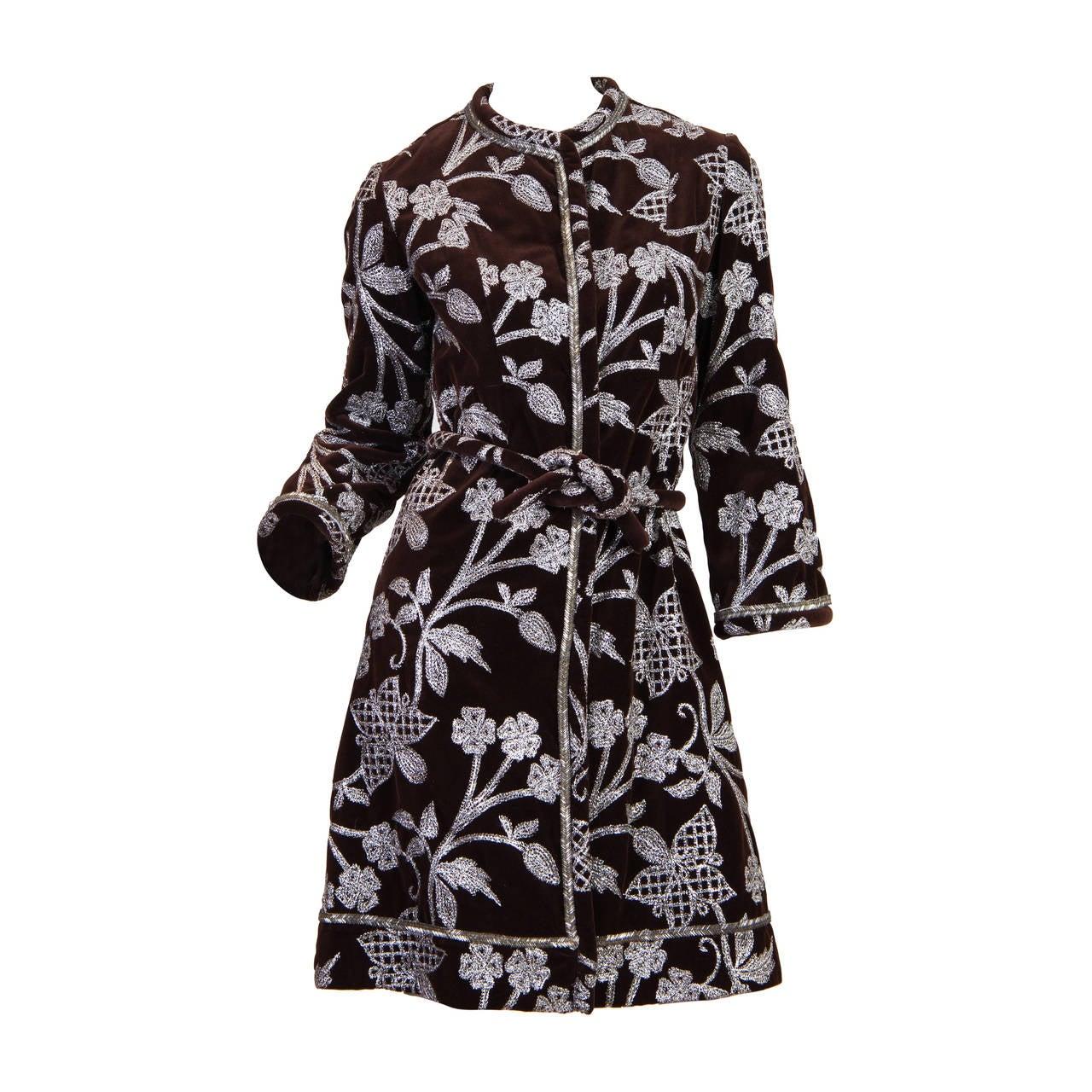 1960s Bill Blass for Maurice Rentner Embroidered Velvet Coat