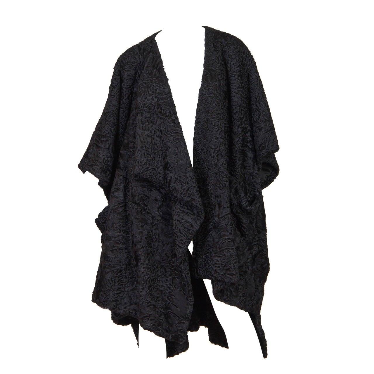 Patrick Kelly Asymetrical Minimalist Black Astrakhan Fur Coat 1