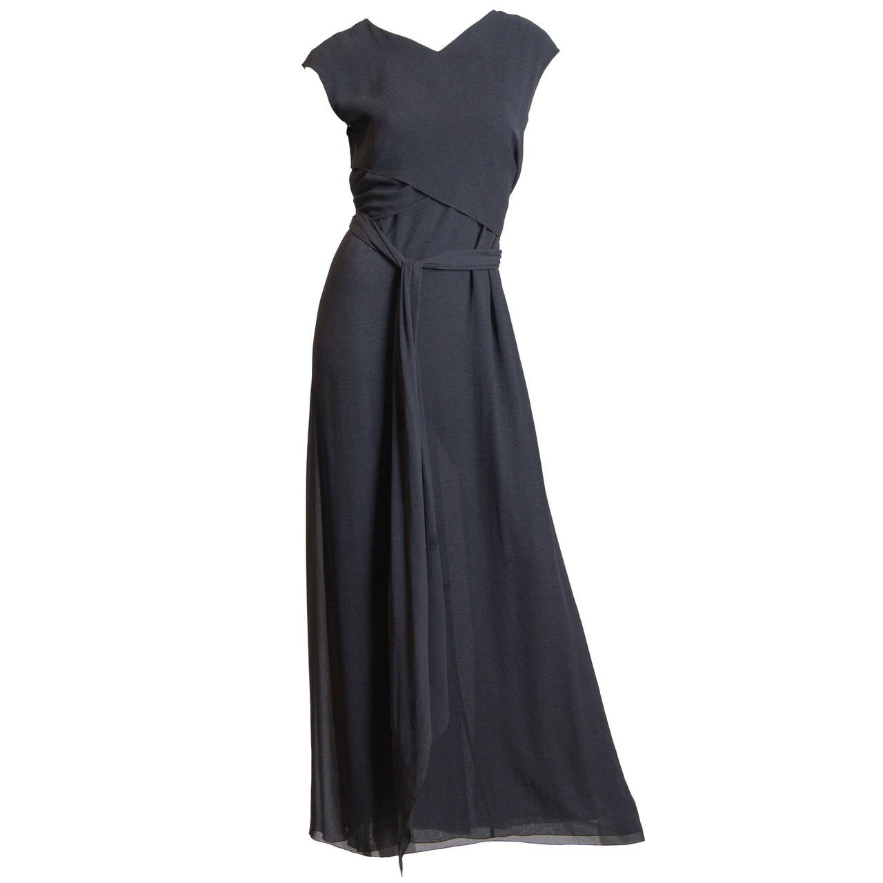 Slate Grey Crepe Dress from Chanel For Sale