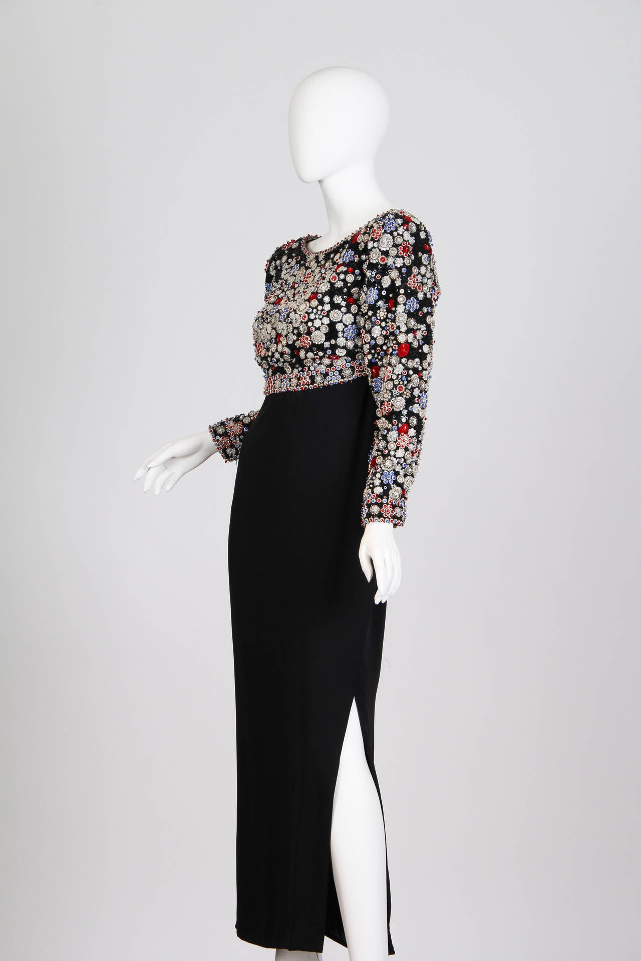 1980S JAMES GALANOS Black Silk Long Sleeve Cut-Out Back Gown With Polka Dot Cry For Sale 3