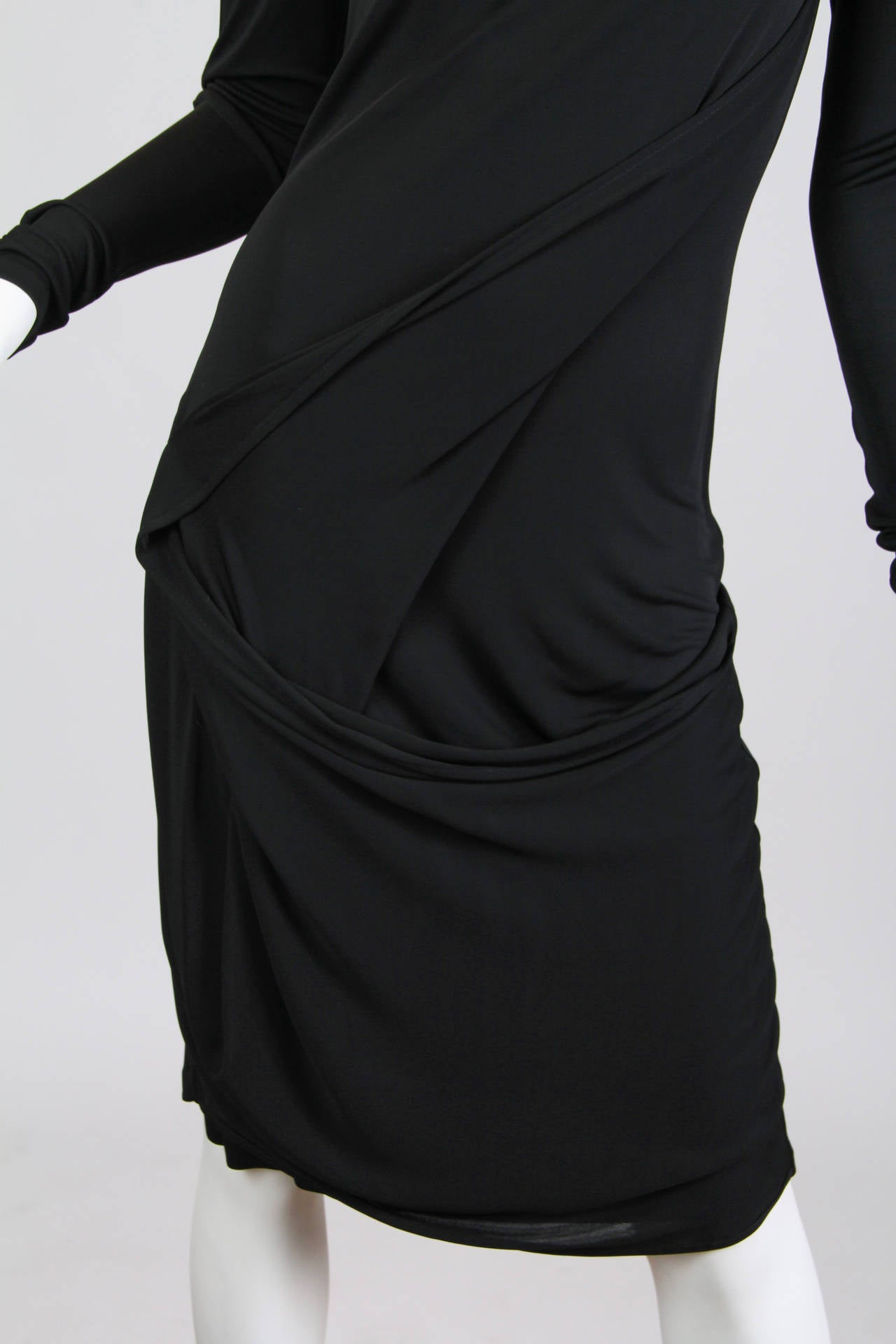 Martin Margiela Black Draped Jersey Dress 9