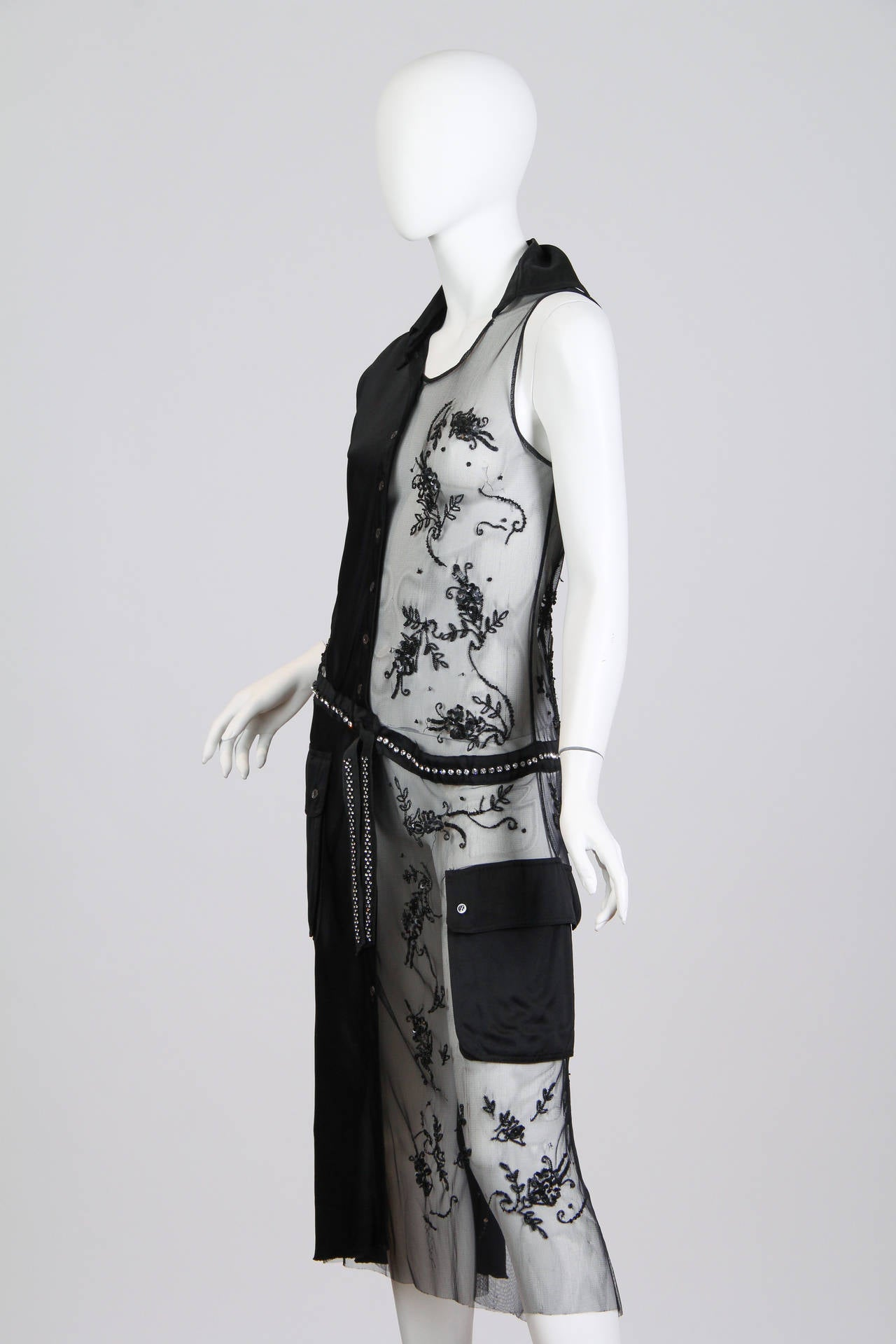Black Deconstructed Moschino Asymmetrical Beaded Dress For Sale