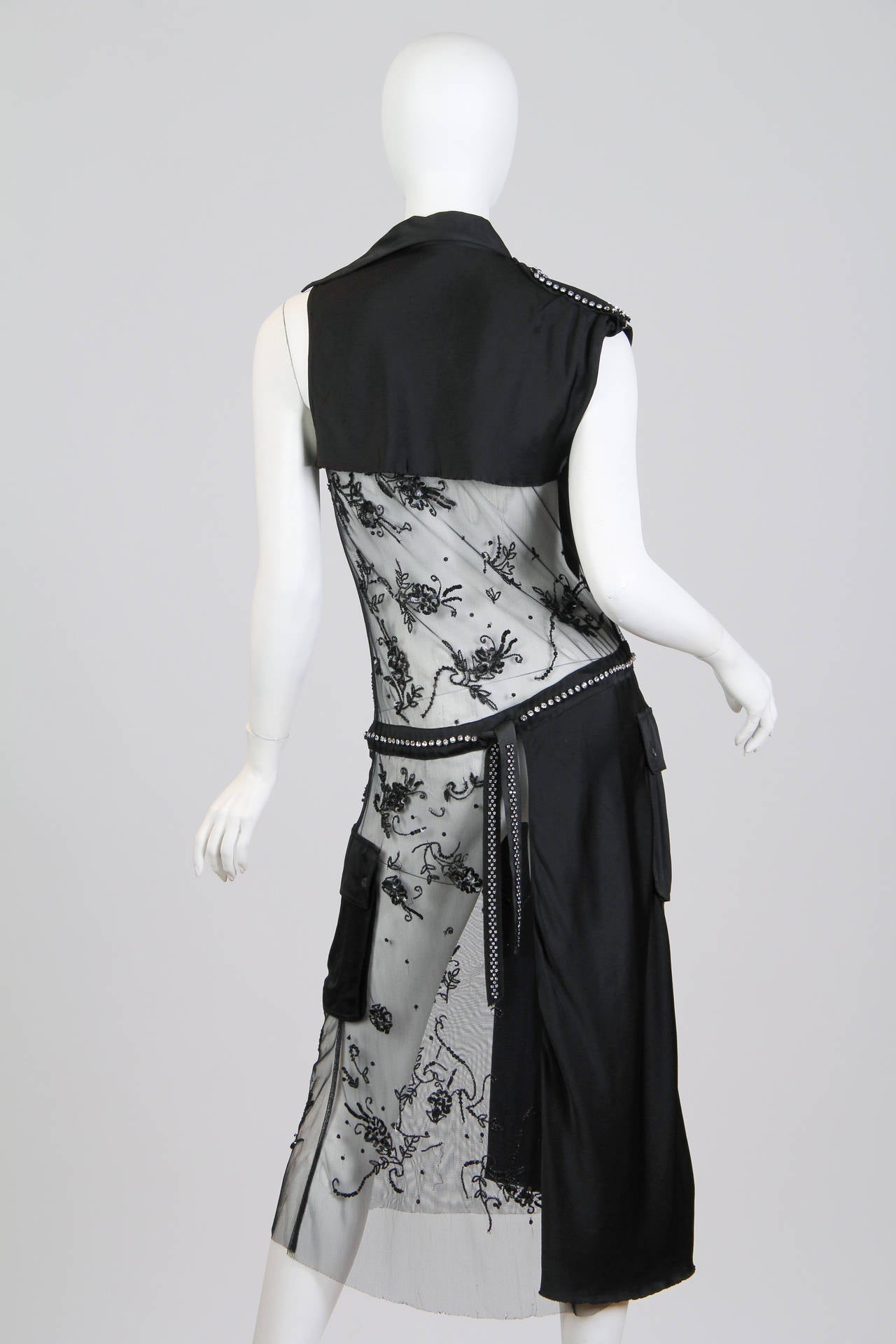 Deconstructed Moschino Asymmetrical Beaded Dress In Good Condition For Sale In New York, NY