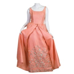 1960S LANVIN Salmon Pink Haute Couture Silk Gown With Lesage Silver & Lace Embr