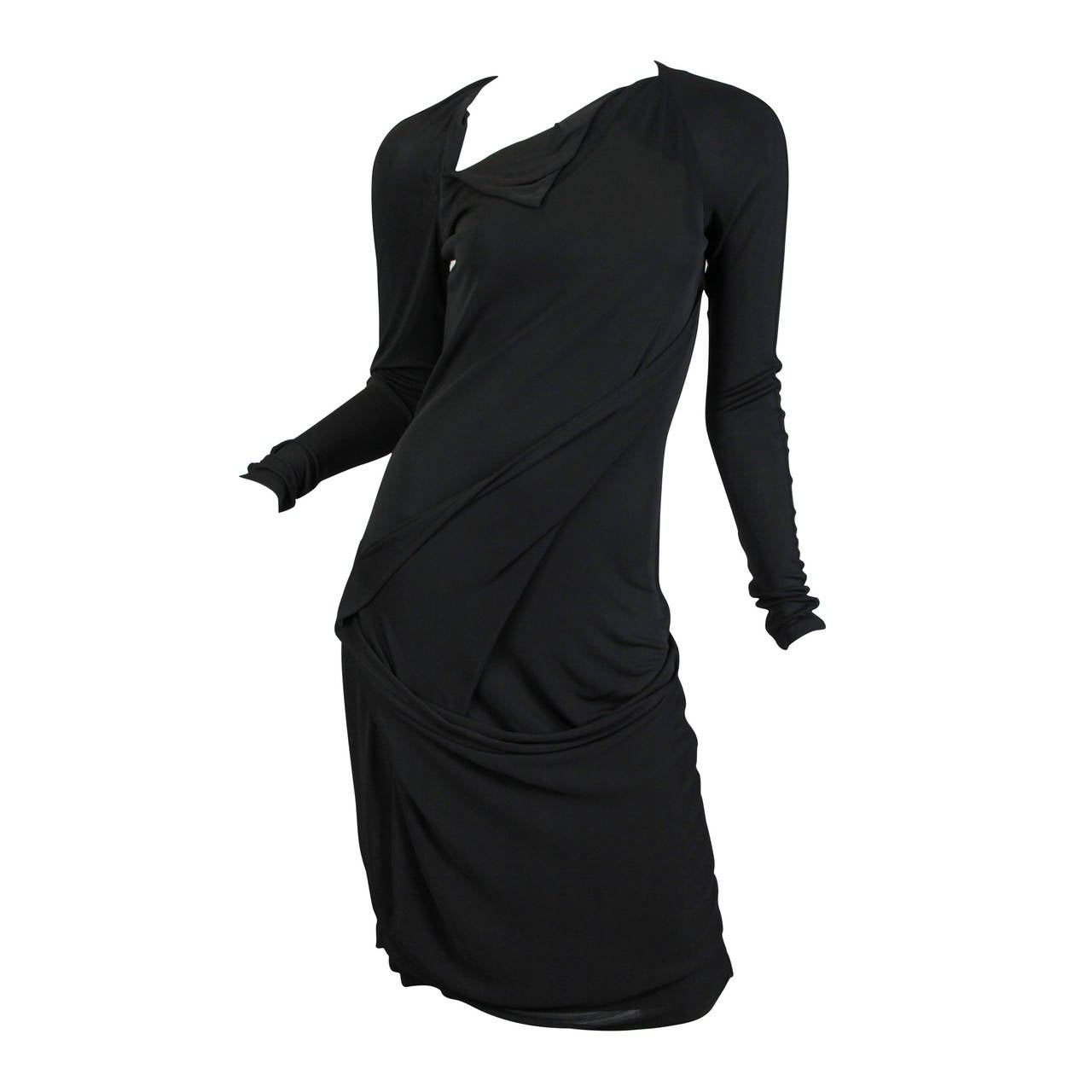 Martin Margiela Black Draped Jersey Dress