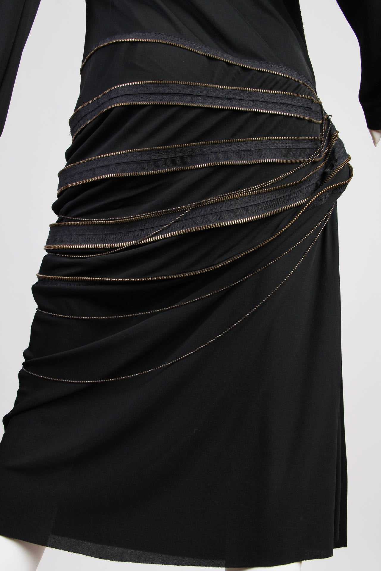 Jean Paul Gaultier Jersey Zipper Dress with Hood For Sale 2