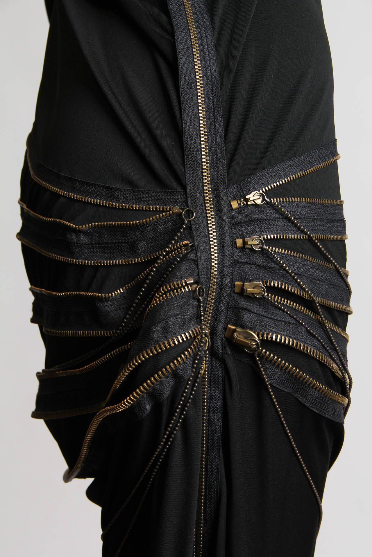 Jean Paul Gaultier Jersey Zipper Dress with Hood For Sale 3