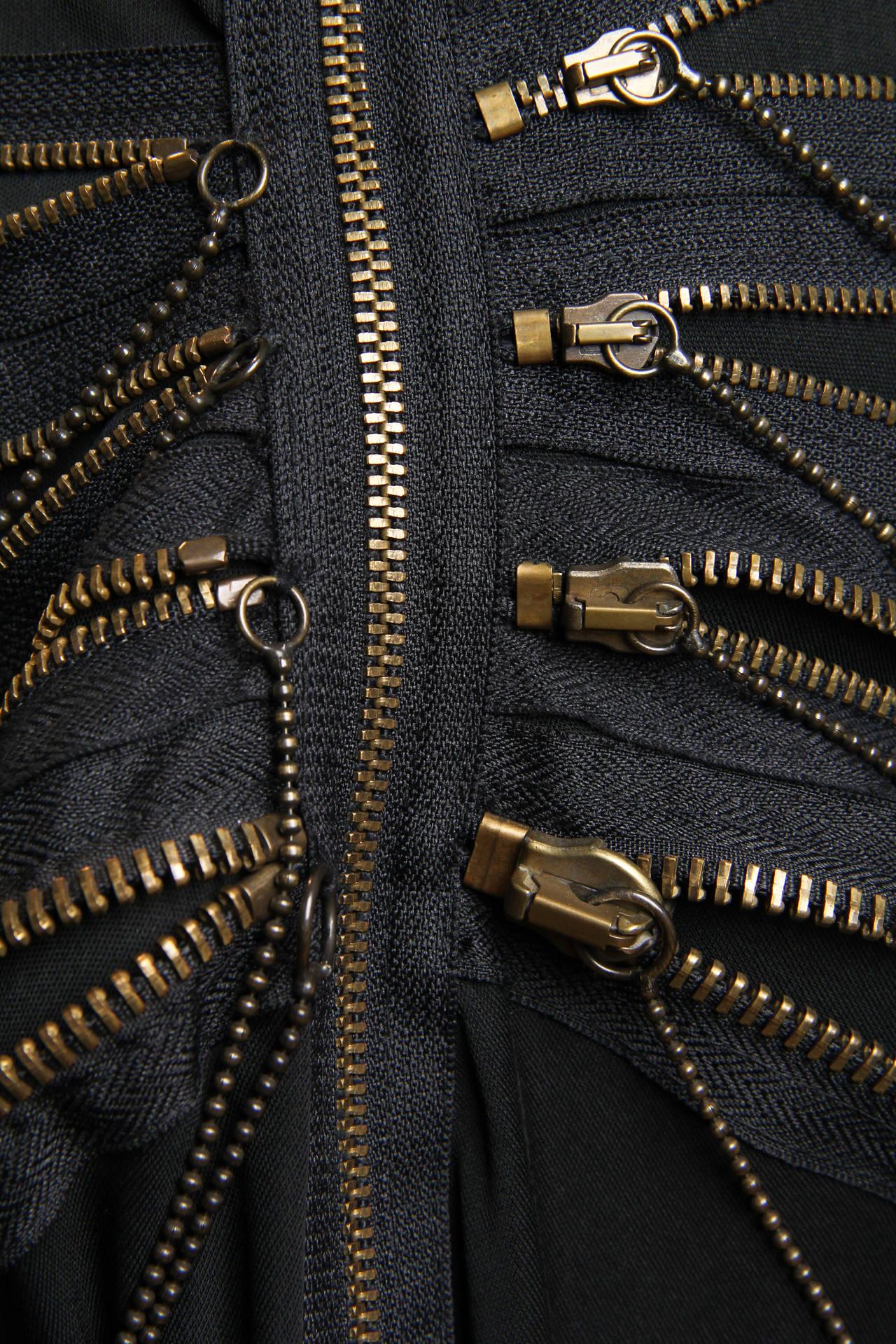 Jean Paul Gaultier Jersey Zipper Dress with Hood For Sale 4