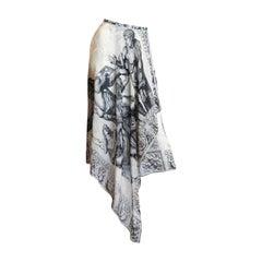 1990S KANSAI YAMAMOTO Silk Chiffon Asymmetrically Draped Wrap Skirt With Classi