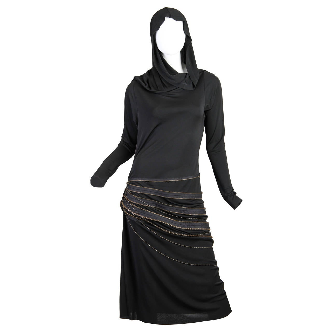 Jean Paul Gaultier Jersey Zipper Dress with Hood