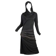 1990S JEAN PAUL GAULTIER Black Jersey Dress With Hood & Adjustable Brass Zippers
