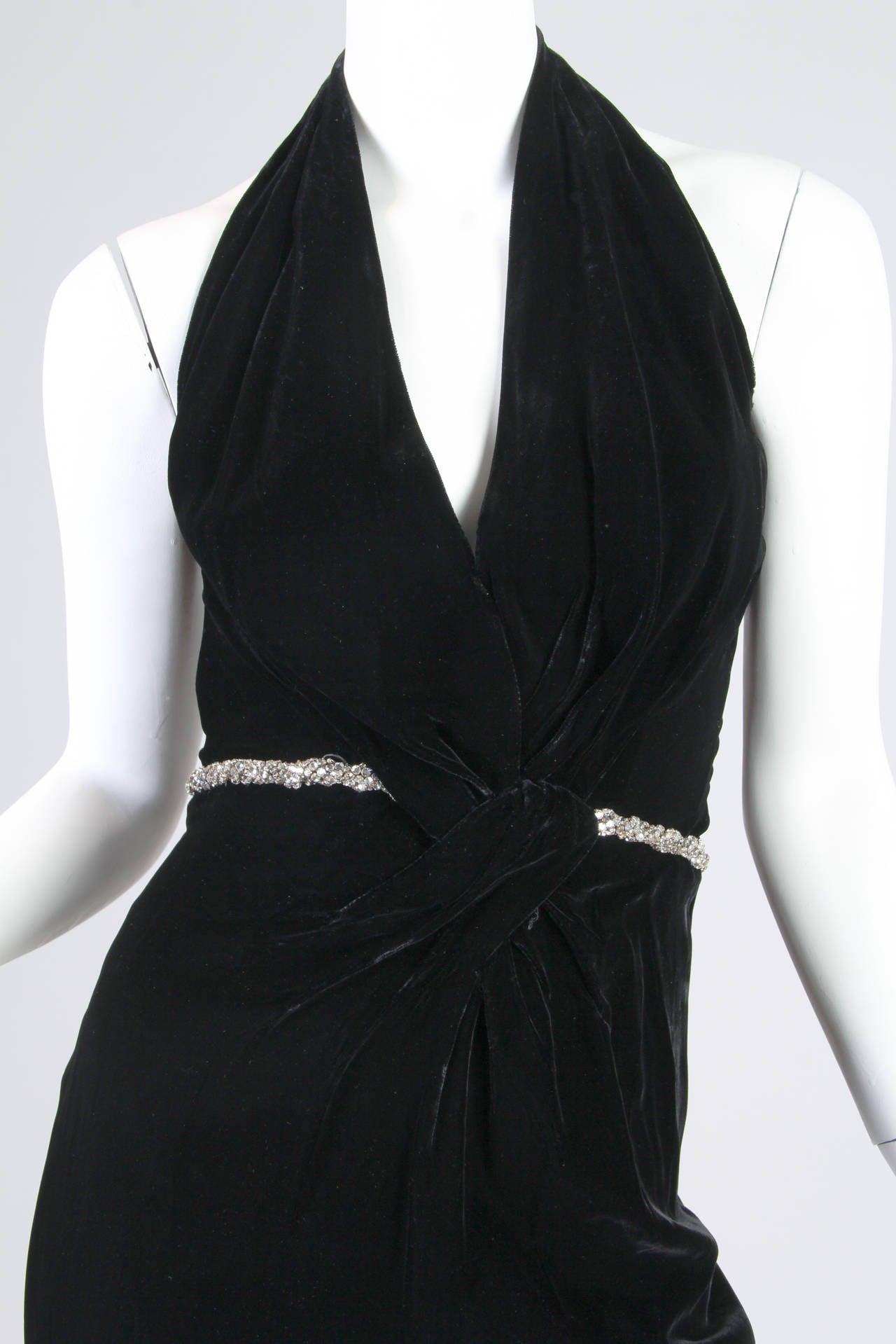 1970s Ceil Chapman Plunging Halter Neck Gown in Velvet For Sale 1