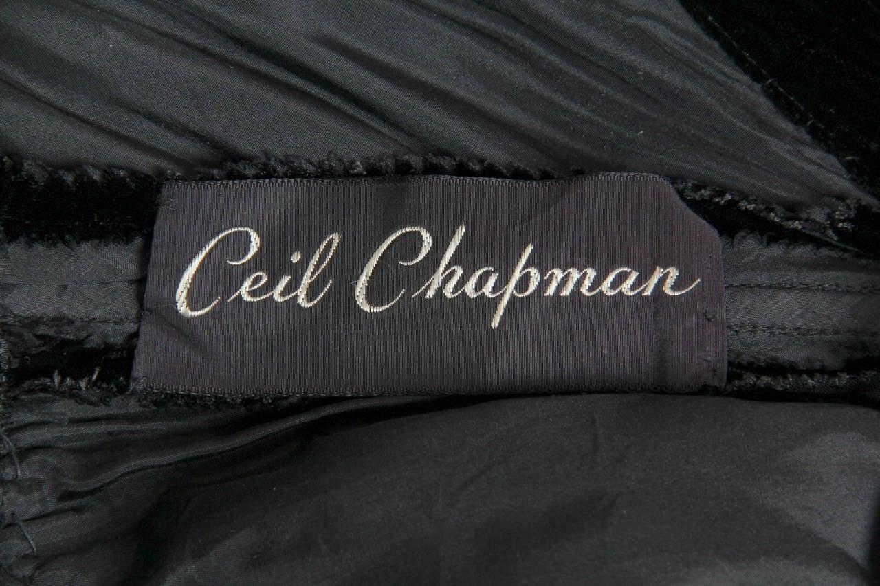 1970s Ceil Chapman Plunging Halter Neck Gown in Velvet For Sale 5