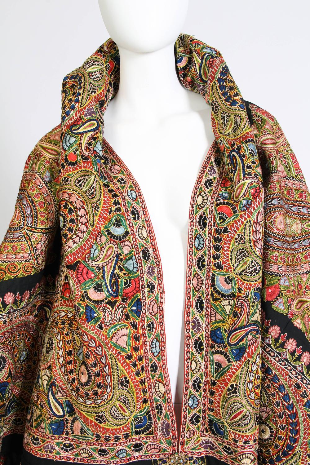 Antique Hand Embroidered Paisley Cloak At 1stdibs