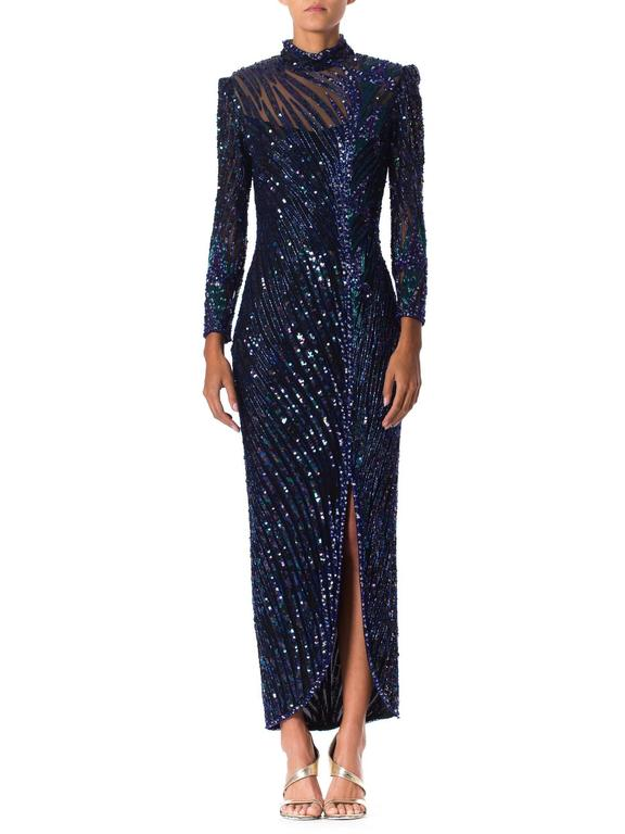 Black Bob Mackie Beaded Gown For Sale
