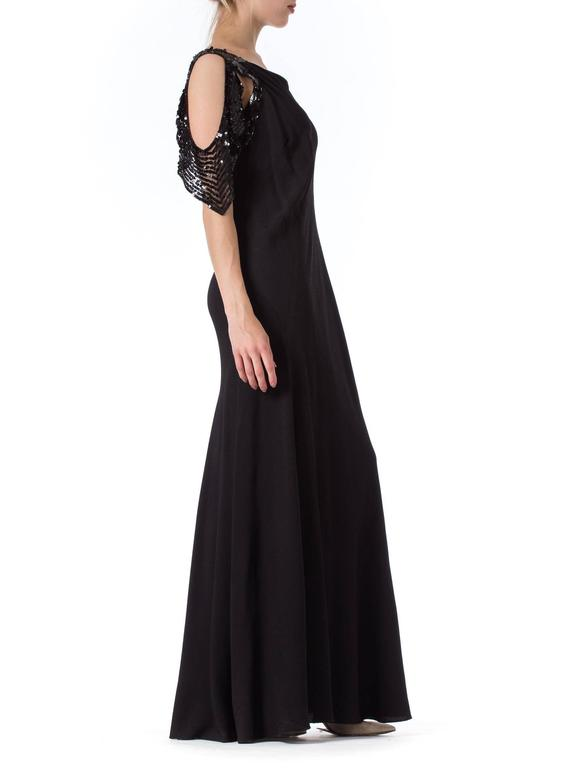 Women's Bias Cut 1930s Gown with Sequin Sleeves For Sale