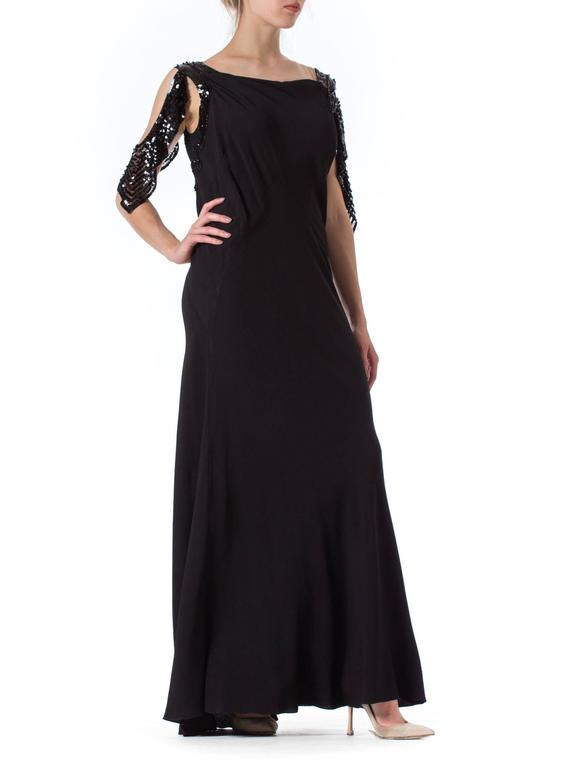 Bias Cut 1930s Gown with Sequin Sleeves 4