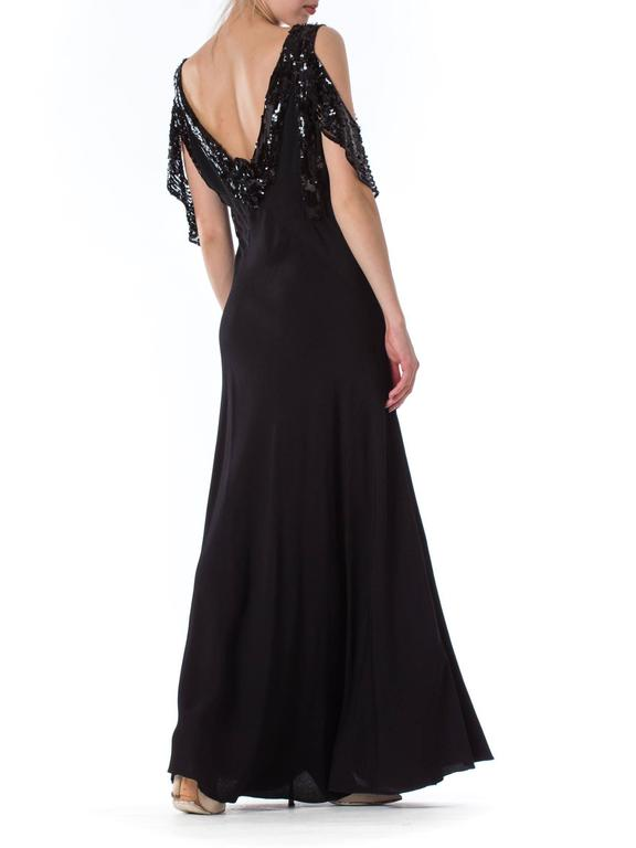 Bias Cut 1930s Gown with Sequin Sleeves For Sale 1
